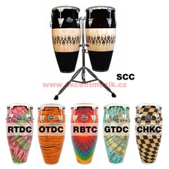 "Latin Percussion Aspire Accent Wood Conga Set 10"" & 11"" Scarab & Double Stand"