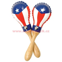 Latin Percussion Mini Rawhide Maracas, Puerto Rican Flag